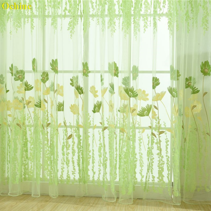 OCHINE 200cm x 100cm Floral Window Curtains Sheer Voile Balcony Kitchen Printed Tulip Pattern Sun-Shading Tulle Curtains