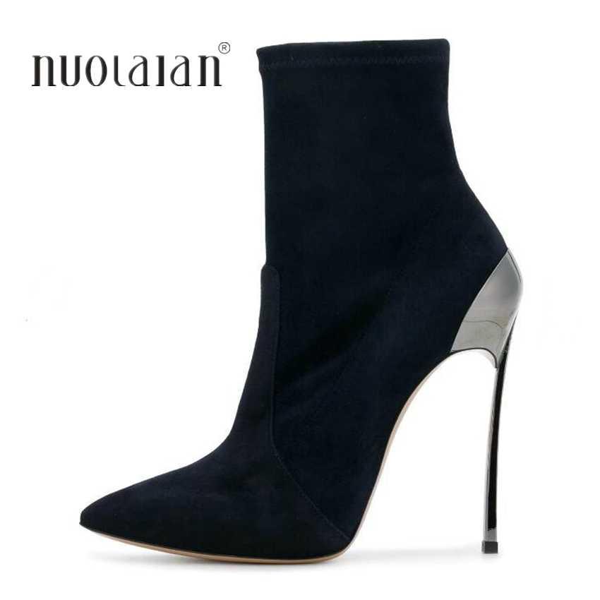 aa4dcb7ba96 10.5CM High Heel Ankle Boots Women Sock Punk Boots Snow Winter Shoes ...
