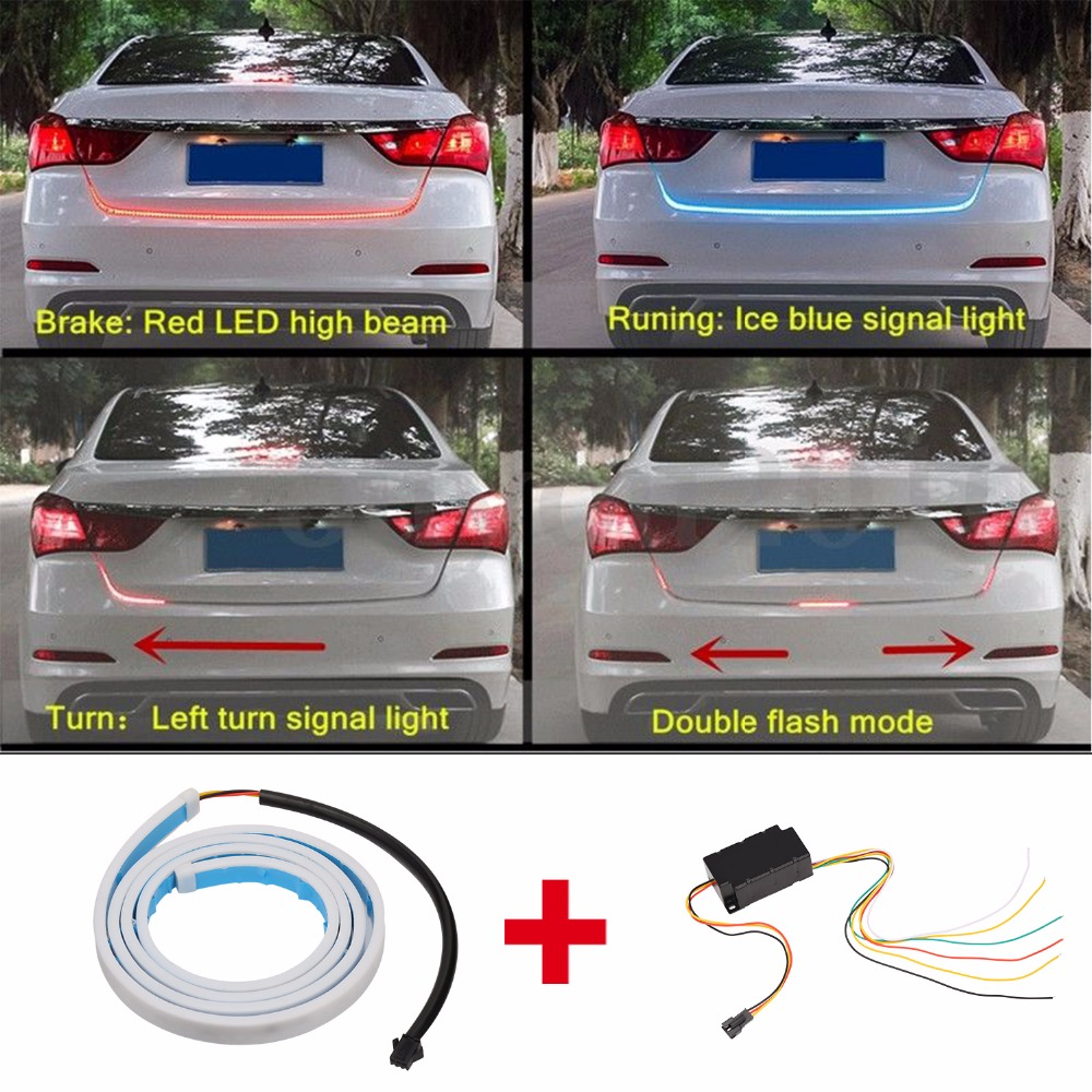 DRL LEDs Daytime Running Light Strip trunk light with Side Turn Signals Rear lights Car Braking light For BMW car-styling 12V for ford fusion 2013 16 guiding light daytime running lights drl turn signals 2x