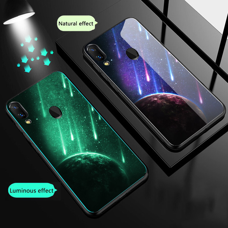 Luminous Glass Case For Xiaomi Redmi K20 Note 8 7 pro Note 5 Luxury Back Cover For Xiaomi Mi 9 se 9t pro A2 8 8 Lite Phone Case in Fitted Cases from Cellphones Telecommunications