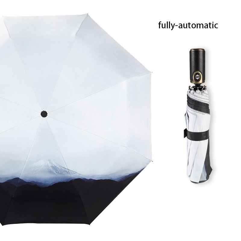 Design créatif neige montagne bref motif entièrement automatique femme Anti soleil noir revêtement Parasol extérieur pluie Anti UV parapluie