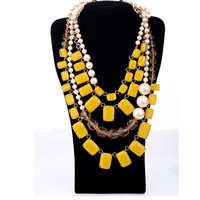 2018 new arrival yellow crystal fine stone clear beads luxicious women necklace elegant party sweater necklace for ladies