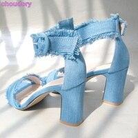 Best Selling Women Elegant Blue Denim Sandals Retro Style Thick Square Heel Gladiator Sandals Ankle Buckle