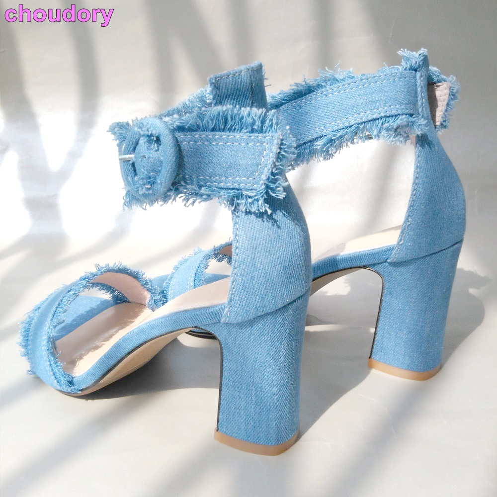 Best Selling Women Elegant Blue Denim Sandals Retro Style Thick Square Heel Gladiator Sandals Ankle Buckle Strap Jeans Pump Shoe  hot selling denim blue ankle strap buckle high heel sandals cut out thick heel gladiator sandals for women summer dress shoes