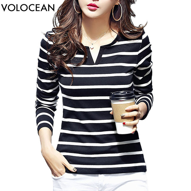Volocean New 2018 Cotton Female T-shirt Autumn Winter T-shirts For Women Striped Korean T Shirt Woman Plus Size Top Tee