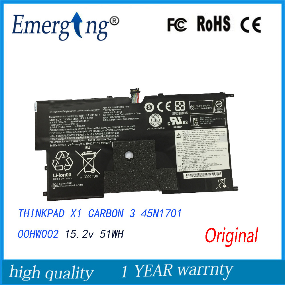 New Original Laptop Battery for Lenovo ThinkPad X1CARBON 3 45N1701 00HW001 00HW002 45N1702 45N1703 45N1704 14 8v 46wh new original laptop battery for lenovo thinkpad x1c carbon 45n1070 45n1071 3444 3448 3460
