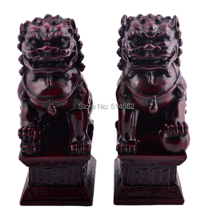 A Pair of Fu Dogs Redstone Chinese Guardian Lions feng shui