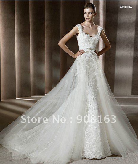 New Style Cap Sleeve Mermaid White Lace Designer Wedding Dress 2017 With Tulle