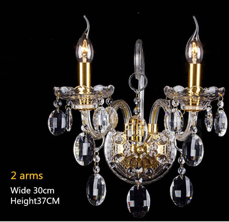 2 lights luxury crystal wall lamp bedroom cristal luminaria gold candle light crystal wall Sconce bedside led  wall lighting modern crystal sconce bedside wall lamp indoor stair lighting cristal wall lights e27 led bulb for bedroom decor black