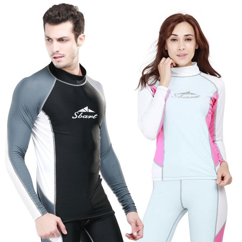 SBART 1PC Couple Lovers Long Sleeve Swimsuit Women/Men Rash Guard T Shirts/Pants Sailing Surfing Swimwear Diving Suits DBO
