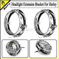 """New Chrome 7"""" Round LED Headlight Extension Trim Mounting Ring Bracket Support For Harley Davidson Motorcycle"""