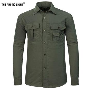 Arktycznego światła na zewnątrz piesze wycieczki koszula mężczyźni zdejmowane szybkie suche oddychająca koszulka SPF 50 + letnie piesze wycieczki Camping wędkowanie wielu kieszeni tanie i dobre opinie THE ARCTIC LIGHT Pełna Poliester AD099 N Koszule Camping i piesze wycieczki Pasuje prawda na wymiar weź swój normalny rozmiar