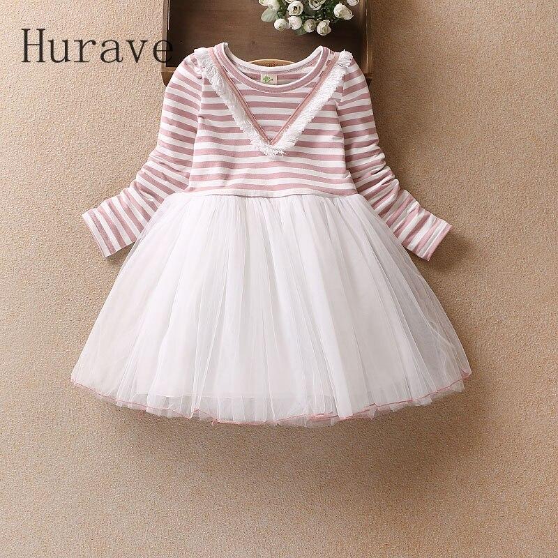 Hurave Fashion girls dress kids clothing striped full sleeve children vestidos robe fille summer baby girl clothes