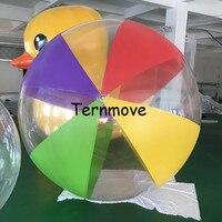 Прозрачный с красочной надувной пляжный мяч гигантская игрушка мяч для детей смешанный цвет Гелиевый шар ПВХ пляж бассейн с игровой корзин