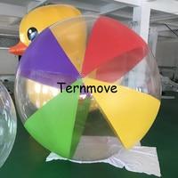 Ясно с красочные надувной пляжный мяч гигантская игрушка мяч для детей Разноцветные Гелиевый шар ПВХ пляжные бассейн играть в мяч