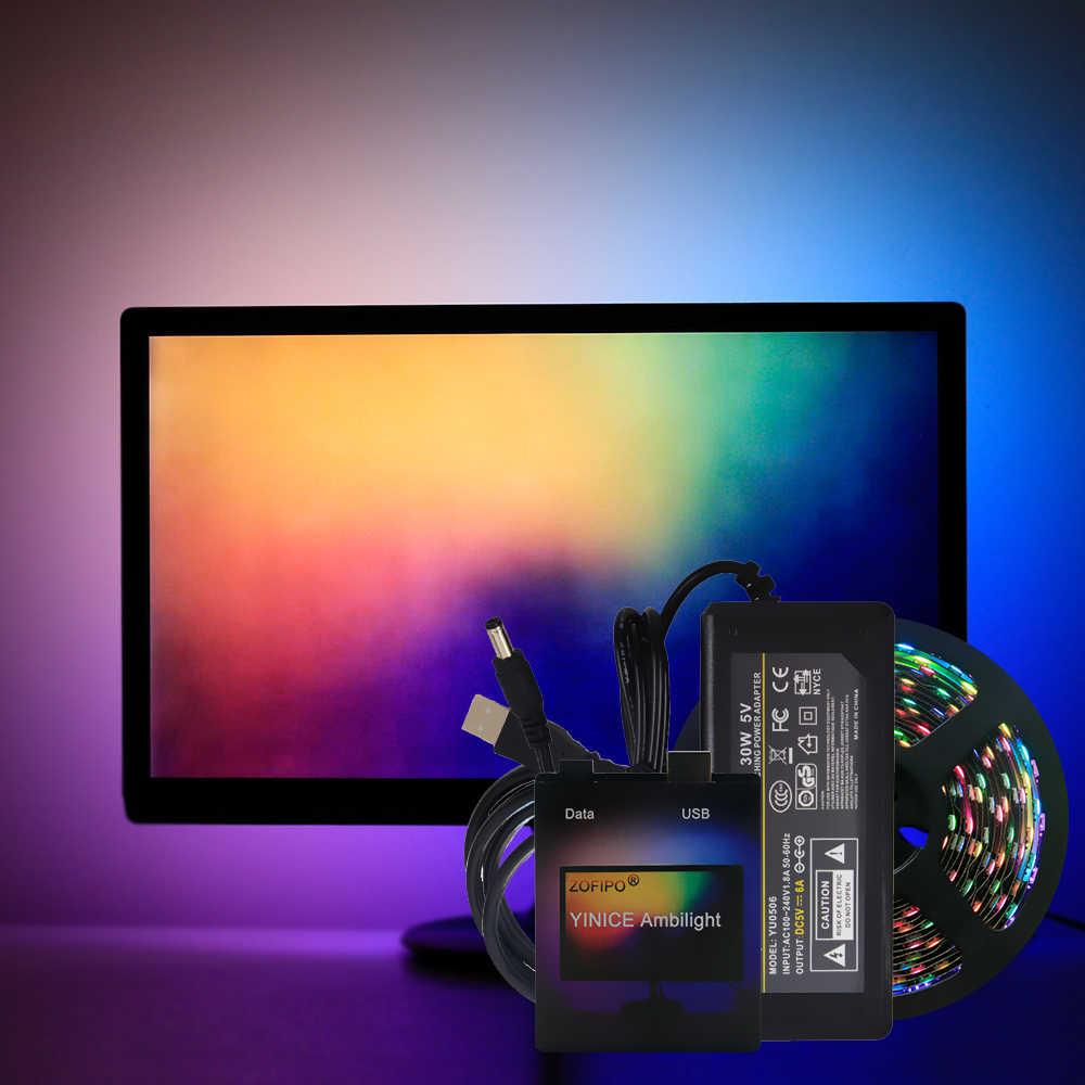 DIY funkcji Ambilight telewizor z dostępem do kanałów PC sen ekran USB taśma LED komputera podświetlenia monitora adresowalny WS2812B taśmy LED 1/2/3 /4/5m pełny zestaw