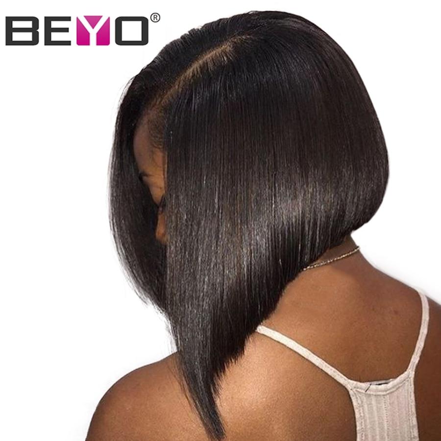 Glueless Short Bob Wigs Brazilian Straight Hair Deep Part Lace Front Human Hair Wigs For Black