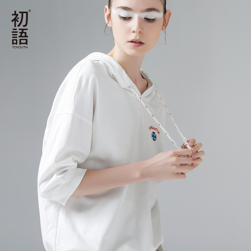 Toyouth 2019 Summer Hooded T Shirts Embroidery Half Sleeve Tee Shirt Femme Pink White Women Basic T-Shirt Casual Female Tops