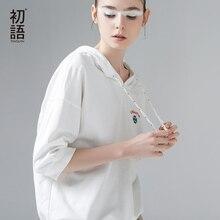 Toyouth 2019 여름 후드 티셔츠 자수 하프 슬리브 티 셔츠 femme 핑크 화이트 여성 기본 티셔츠 캐주얼 여성 탑스