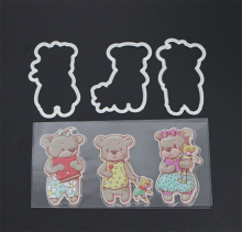 AZSG Three Baby Bear Transparent Silicone Seal / Stamp DIY clip album decoration transparent seal cutting mold set
