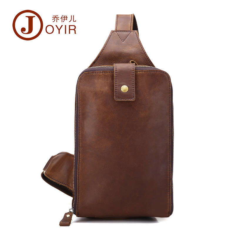 ФОТО genuine cowhide leather chest pack men crossbody chest bag small zipper shoulder bags for male packs belt bag man bag B507