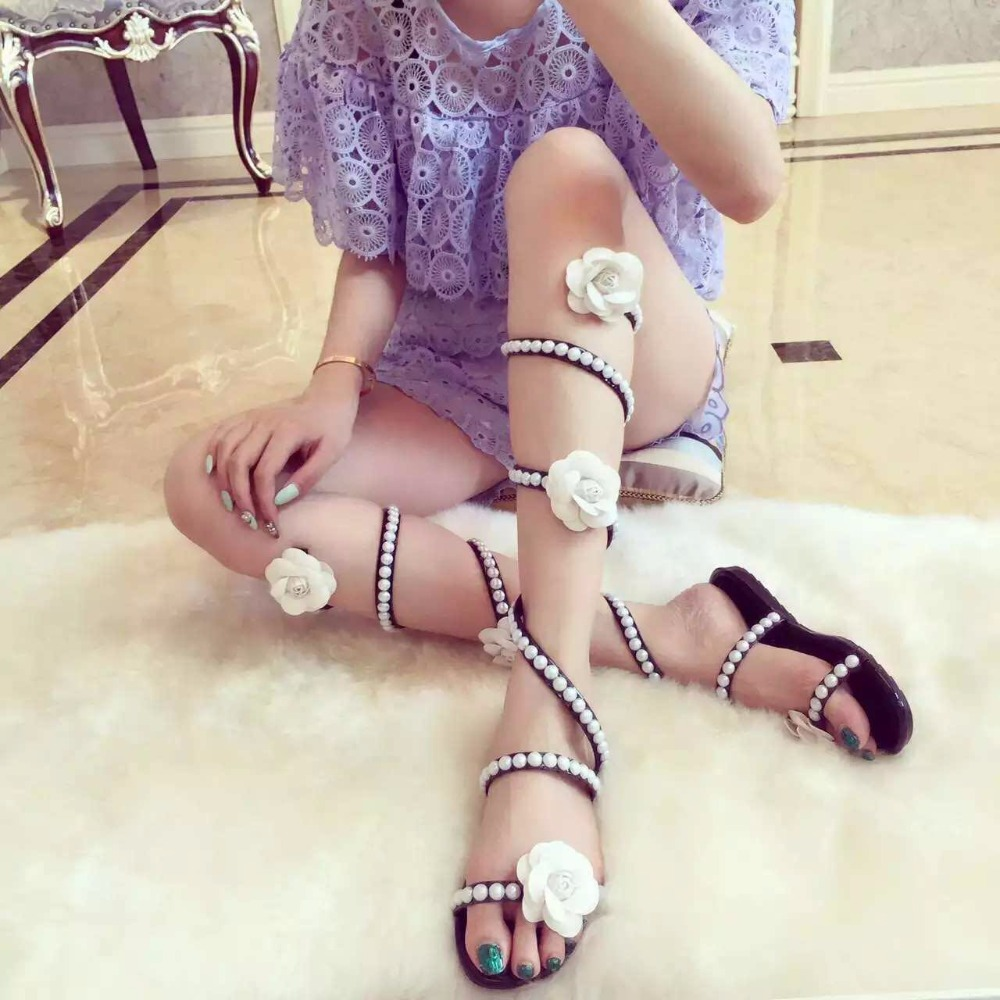 Women Summer Shoes Flat Wedge Sandals High Heels Snake Strap Open Toe Pearl Flowers Women Gladiator Sandals Sexy Ladies Shoes mvvjke summer women shoes woman genuine leather flat sandals casual open toe sandals women sandals