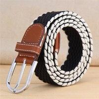 2016 Unisex Canvas Woven Leather Pin Buckle Elastic Waist Belt Men Women Waistband