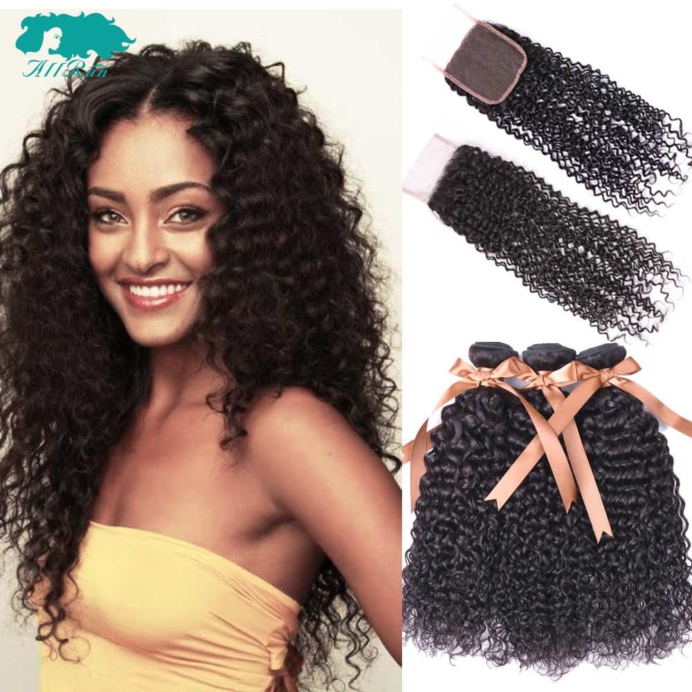 Allrun pelo brasileño rizado con el encierro del cordón con el pelo del bebé 3 unidades paquetes brasileñas del pelo humano con cierre