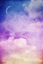 Laeacco Painting Purple Cloud Starry Sky Crescent Moon Photographic Background Customized Photography Backdrops For Photo Studio