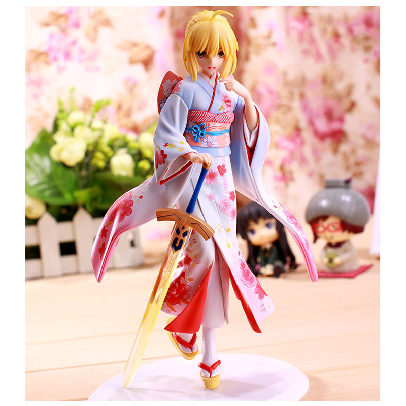 ZXZ Anime Fate Stay Night 25cm kimono Saber Sexy Girl Anime PVC Action Figure Toys Collection Model 28cm playarts kai star wars darth maul model pvc action figure toy classic collection for kids gift