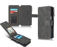 Cremallera Titular de la Tarjeta de Crédito de la Carpeta Monedero Cuero de la Cubierta Para el iphone 6 6 S 7 Plus Para Samsung Galaxy Note 5 S6 S7 Borde Plus