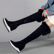 Trainer Women Oxfords Cow Leather Knee High Boots Wedges Heel Punk Long Sneakers Rabbit Fur Pumps Shoes Winter Creepers New