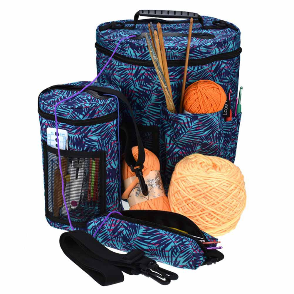 TPFOCUS Printing Pattern Cylinder Shape Organizing Bag with Shoulder Strap Crochet Wool Tool Storage Container