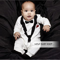 Retail Long-Sleeved Baby Infant bowknot Rompers for boys Baby Clothing 2014 new free shipping