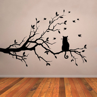 JJRUI Cat On Dài Tree Branch Tường Sticker Động Vật Mèo Vinyl Modern Decor Bức Tường Art Stickers Decal Living Kids Room