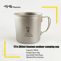 TiTo Outdoor Camping Titanium Cup 380ml Cup Singel Mug Ultralight Folding Handle Outdoor Tableware