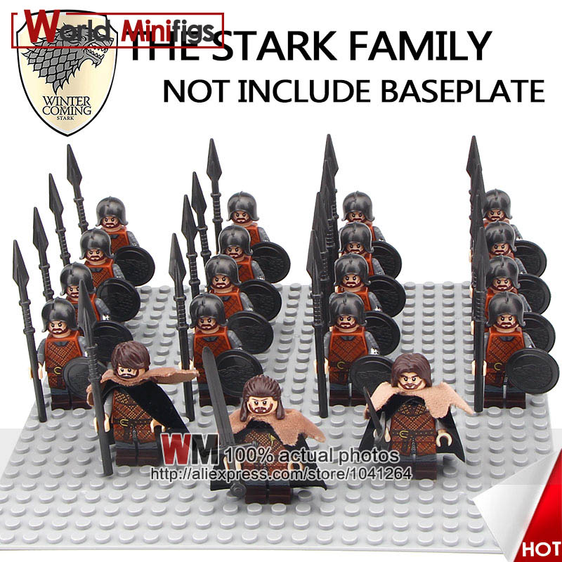 19PCS/LOT Game of Thrones The King in the North Eddard Stark Spear Infantry Building Blocks Gifts Toys for Children Kids