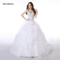 H S BRIDAL Real Model White Ruffles Organza Sweetheart Ball Gown Wedding Dresses Designer Beaded Bridal