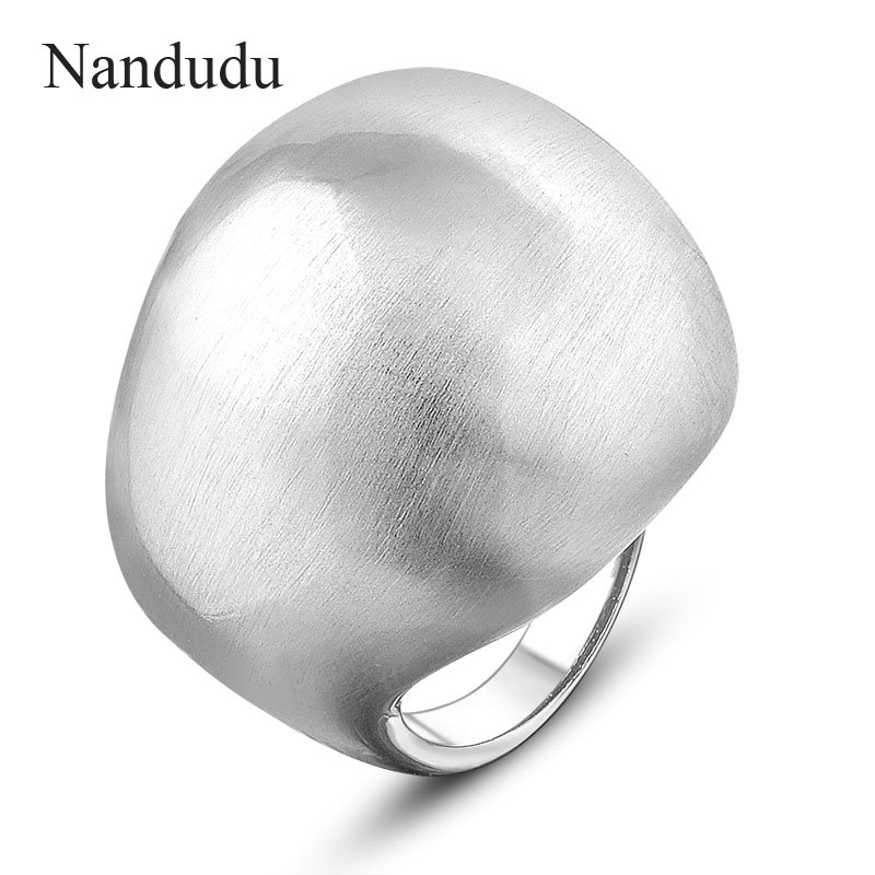 Nandudu Men Women Unisex Copper Brushed Rings New Punk Style Silver Color Ring Fashion Jewelry Ball Shape Jewelry Gift R870 punk style pure color hollow out ring for women