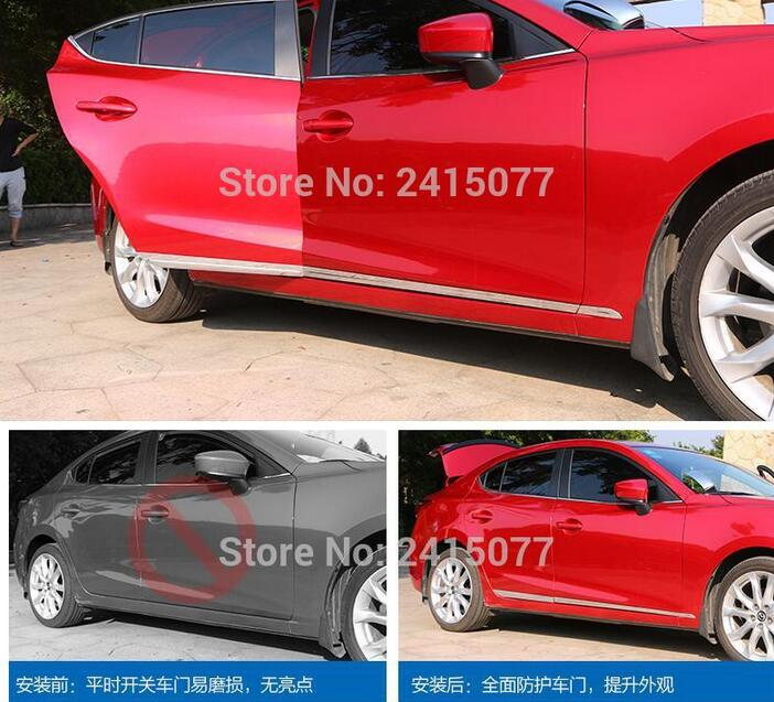 ФОТО FOR 2014 2015 Mazda3 Mazda 3 BM AXELA Triple Chrome Styling Door Body Side Molding Trim Cover Car styling
