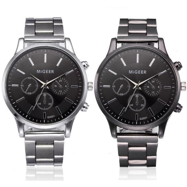 Fashion Men Crystal Stainless Steel Analog Quartz Wrist Watch Bracelet men's wat