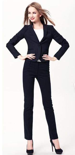 4623d14bda0f New Plus Size 2015 Autunno Inverno Business Professional Work Wear Ufficio  Donne Eleganti Tailleur Navy Affari