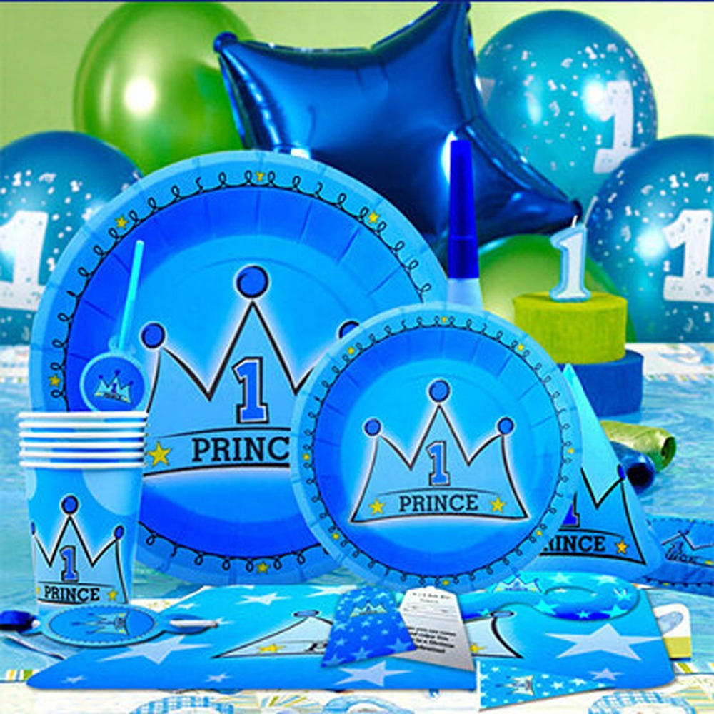 90pcs Children Party Set Decoration Baby Boy Kids 1st Birthday Prince Blue Theme Favor Supplies Invitation Card CJ2007