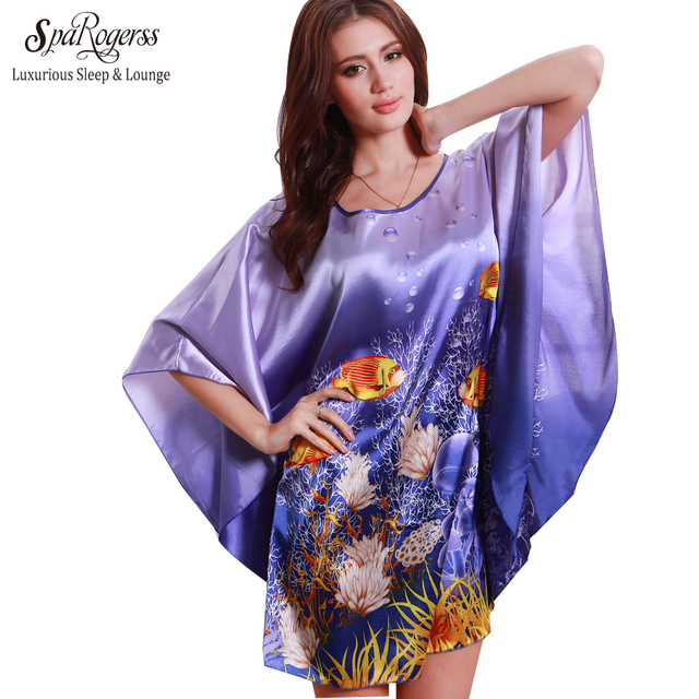 SpaRogerss Nightgowns Sleepshirts 2017 Plus Size Silk Lady Sleepwear Dressing Gown Female Home Brand Bathrobe Intimissimi YT7348