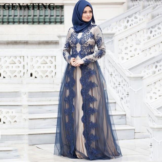 ff8f84eb511 Navy Blue Lace Long Sleeve Muslim Evening Dress with Hijab 2019 Arabic  Kaftan Dubai Prom Dresses Elegant Long Formal Party Gowns