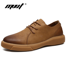 Купить с кэшбэком MVVT Comfortable Genuine Leather Men Shoes Quality Lace Up Casual Men leather Loafers Soft Men Flats Hot Sale Moccasins Shoes