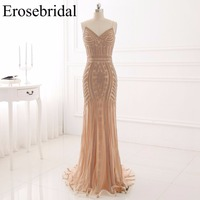 Sexy Spaghetti Strap Mermaid Prom Dress Beading Sleeveless V Neck Floor Length Formal Evening Gown Vestido