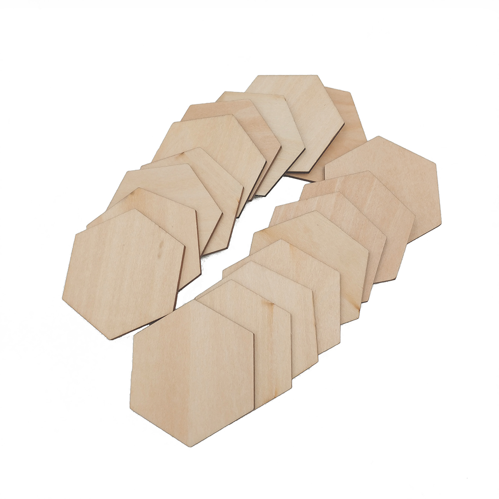 10-60mm Unfinished Wood Cutout Pieces Hexagon Natural Unfinished Craft Wood Blocks Wood Cubes For DIY Craft Gifts