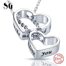 SG Double heart pendan necklace with 925 sterling silver chain necklaces I love you couple for lovers gifts