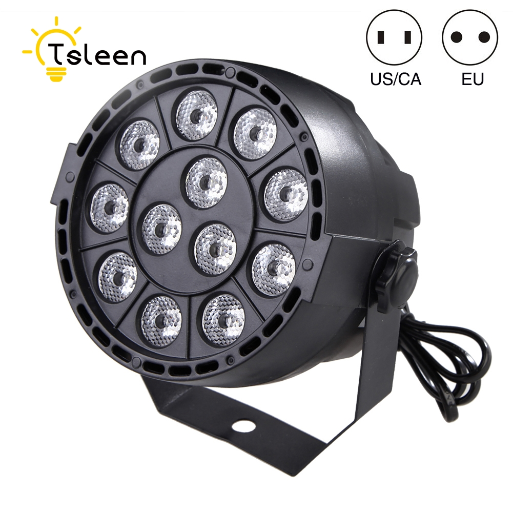 TSLEEN Professional LED Stage Lights RGB PAR LED Stage Laser Lighting Effect DMX512 Master-Slave Led Flat For DJ Disco Party KTV